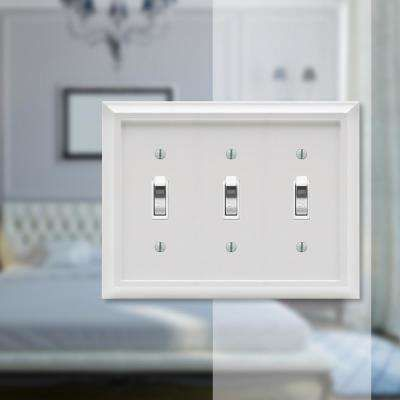 Amerelle Deerfield 3 Gang Toggle Composite Wall Plate White 2040tttw The Home Depot Plates On Wall Electrical Box Cover Stylish Decor