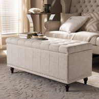 Astounding Beige Noble House Meadow Tufted Fabric Storage Ottoman Bench Evergreenethics Interior Chair Design Evergreenethicsorg