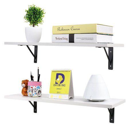 Zimtown 2 Display Shelf Floating Shelves Wall Mounted White Walmart Com Wall Mounted Bookshelves Floating Shelves Wall Storage Shelves