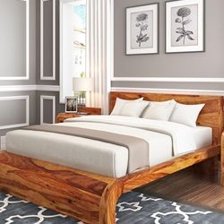 Rebecca Solid Wood Curved Platform Bed Solid Wood Bed Design