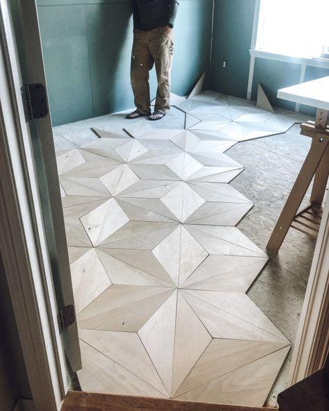plywood flooring DIY Geometric Plywood F - Diy Wood Floors, Diy Flooring, Painted Floors, Laminate Flooring, Stained Plywood Floors, Café Design, Deco Design, Floor Design, Diy Furniture