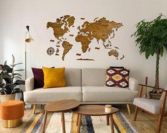 Wood World Map Wall Art Flat Earth Led World Map As Wall Etsy Wood World Map World Map Wall Art World Map Wall