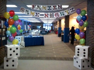 Math night - or even for a classroom math all-day party. Math questions hidden in the balloons? Large dice so the whole class can read the numbers and respond?
