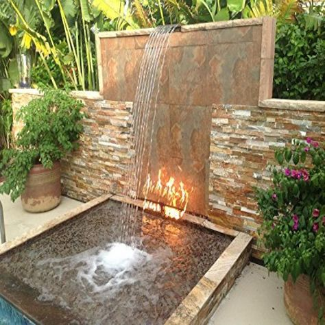 Fire Pit With Water Feature, Backyard Water Feature, Small Backyard Pools, Backyard Patio Designs, Backyard Landscaping, Diy Water Feature, Backyard Waterfalls, Backyard Ponds, Outdoor Water Features