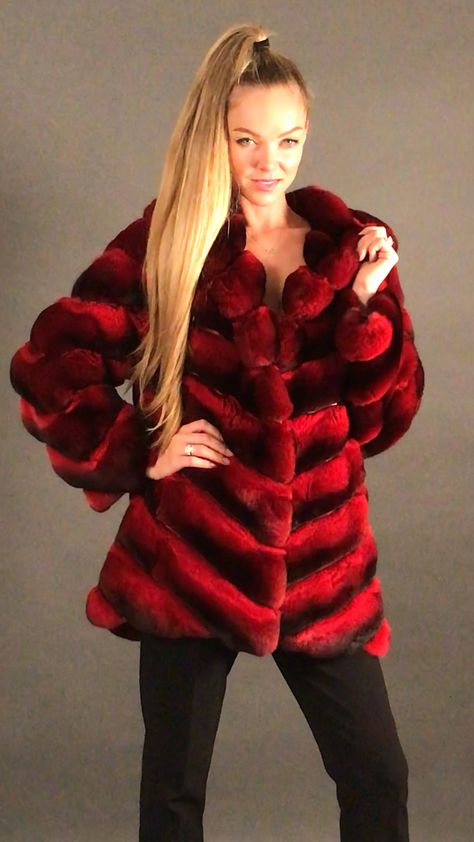 Fur fashion, fur sale, luxe, luxury fur, Chinchila red fur coat