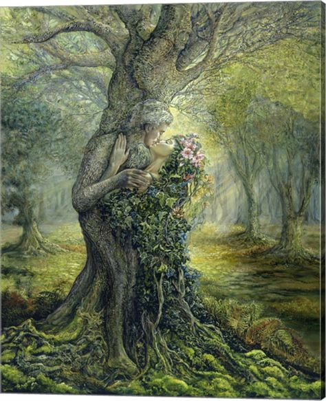 """The Dryad and the Tree Spirit"" - Oil painting by Josephine Wall, a popular English fantasy artist and sculptor. Josephine Wall, Beltaine, Oracle Cards, Tree Art, Mythical Creatures, Forest Creatures, Mother Earth, Mother Nature, Faeries"