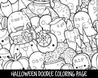 Doodle Di Halloween Da Colorare Pagina Stampabile Carine Da Colorare Per Bambini E Adulti Doodle Coloring Doodle Art Doodle Art Posters