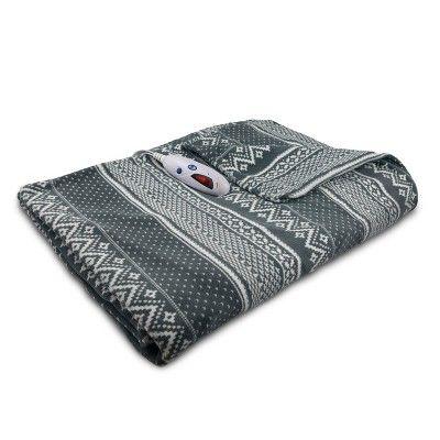 Extra Long Microplush Electric Throw Blanket 72 X50 Gray White Fair Isle Biddeford Blankets Target Biddeford Blankets Heated Throw Biddeford
