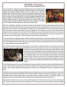 This Reading Comprehension worksheet is suitable for upper intermediate to proficient ESL learners. The text narrates the story of Macbeth based on William Shakespeare's tragedy. After carefully reading a text, students are required to complete some comprehension exercises including: questions, True or