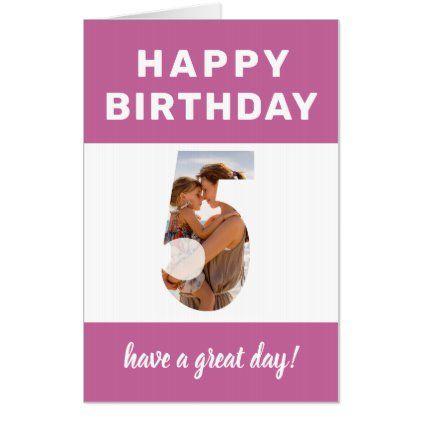 Photo Number 5 Pink Border Jumbo 5th Birthday Card Zazzle Com Birthday Cards Custom Photo Cards Photo Cards Diy