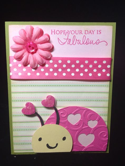 Card Making 3 Hiding in My Craft Room: Fabulous Day! Girl Birthday Cards, Baby Girl Cards, Bday Cards, Cricut Birthday Cards, Art Birthday, Birthday Ideas, Tarjetas Diy, Punch Art Cards, Create A Critter