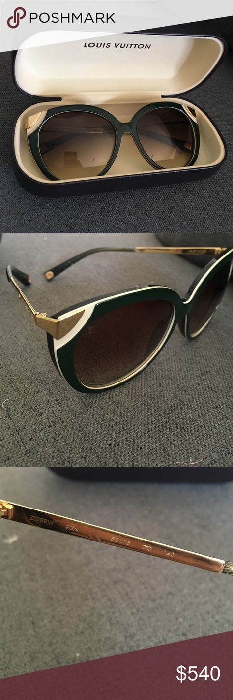 fb4c4ddb9a8c6 Louis Vuitton Amber sunglasses   Hunter Green Beautiful hunter green Louis  sunglasses. Only worn a couple times. Great condition. Case included.