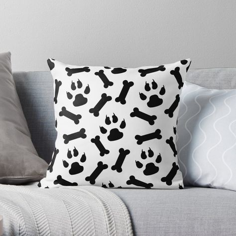"""""""Paws and Bones - Pattern Design"""" Throw Pillow by art-by-shadab 
