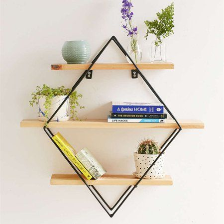 Wood Wall Shelves Shelf Retro Style Storage Rack Rhombus Round Heart Shaped Metal Rack Storage For Home Bedroom Decoration Walmart Com Diy Hanging Shelves Diy Wall Shelves Metal Wall Shelves