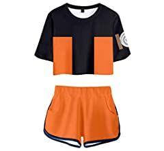 Memoryee Moda 3D Digitale Anime Naruto Stampare Crop Top T-Shirt e Pantaloncini Abbigliamento Due Pezzi Suit per Ragazze e Donne Sportswear