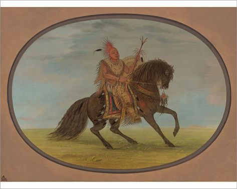 The Running Fox on a Fine Horse - Saukie, 1861/1869. Creator: George Catlin. 10 inch Photo. The Running Fox on a Fine Horse - Saukie, 1861/1869..
