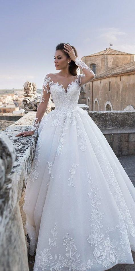 lace wedding dresses with sleeves ball gown illusion neckline floral embellishment lussanobridal