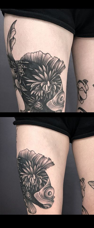 Heavy Black Funky Flowery Fish Tattoo By Susanna Done Here At Scratchline Tattoo Kentish Town London Tattoos Hand Tattoos S Tattoo