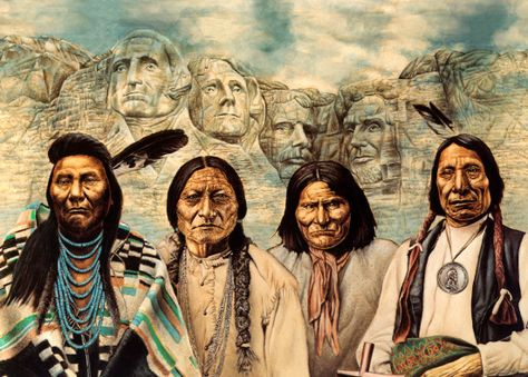 """The Original Founding Fathers: Chief Joseph, Sitting Bull, Geronimo, and Red Cloud. ~Native Pride~ Please don't post this on your stupid little """"Indian"""" board, Indian is a very ignorant term."""