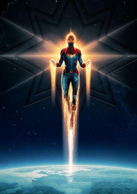 Captain Marvel 2019 - Superhero – Poster - Canvas Print - Wooden Hanging Scroll Frame