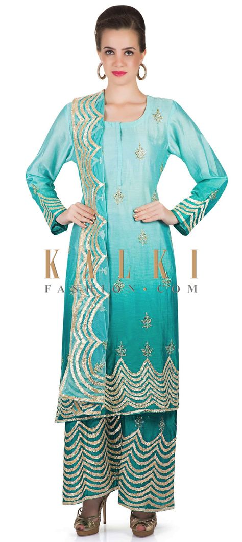 5943c7f111 Shaded Blue Cotton Silk Top and Palazzo Pants with Gotta Lace Work only on  Kalki