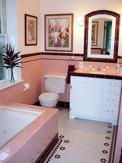 36 Retro Pink Bathroom Tile Ideas Retro Bathroom Ideas In 2019 Pink Bathroom Tiles Bathroom Tile Designs Art Deco Bathroom