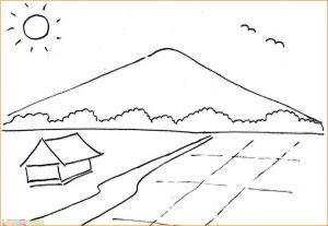 Gambar Pemandangan Gunung Dan Sawah Yang Belum Diwarnai Dengan Begitu Pemandangan Dijadikan Suatu Media Untuk Gambar Mewarnai Di 2020 Gambar Pemandangan Mandala Art