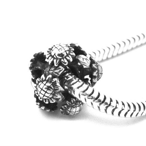 9fe73f289 Sunflowers Rondelle - Flowers - 925 Solid Sterling Silver European Charm  Bead - Pandora style: Amazon.co.uk: Jewellery