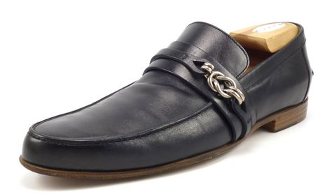 2c42f333a Gucci Mens Shoes 7.5 Silver Knot Leather Strap Loafers 211683 Black ...