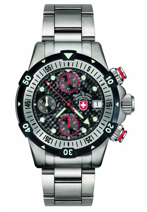 The CX Swiss Military dive watch currently holds the world record as the only mechanical dive watch that is certified water resistant to a depth of 20,000 Feet.
