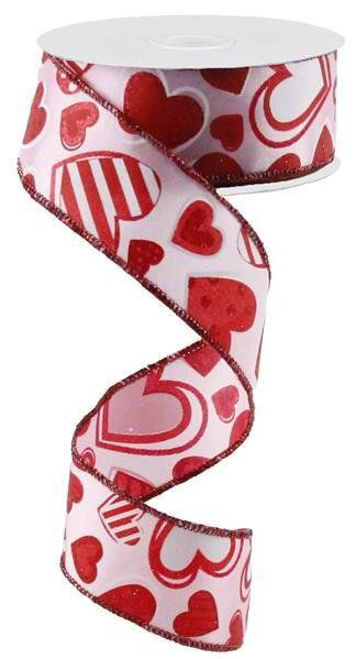 5 Yards Valentine/'s Day Glitter Red Hearts Black White Striped Wired Ribbon 1 1//
