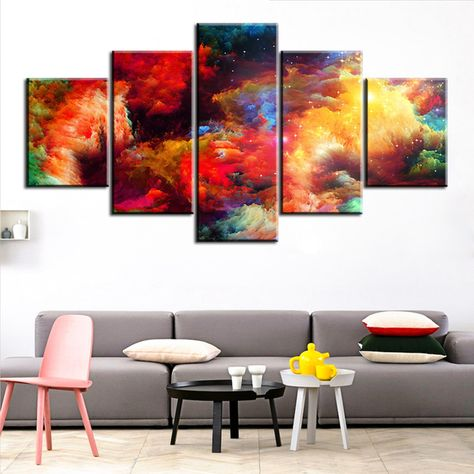 MONDFH 5 Piece Canvas Wall Art Canvas Painting Poster Color Art Day and Night Tree Decorative Picture Modern Wall Art Living Room Wall Painting Home Decoration