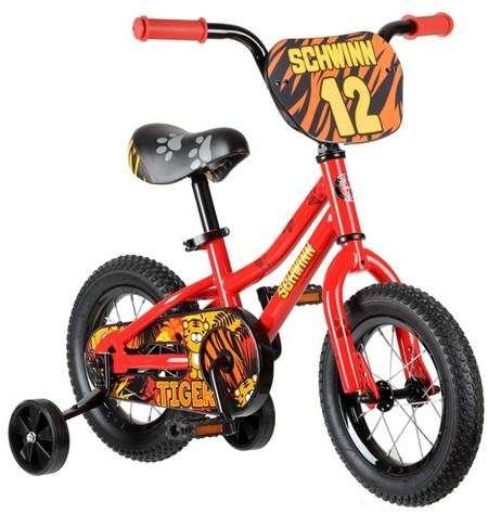 Schwinn Tiger 12 Kids Bike With Training Wheels Red Orange Bike With Training Wheels Schwinn Kids Bike Accessories