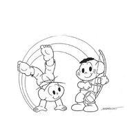 Desenho De Cebolinha E Cascao Jogando Capoeira Para Colorir