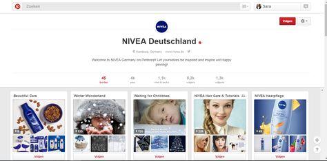 Met meer dan 4000 pins springt Nivea Deutschland toch echt wel uit de massa op Pinterest. De onderneming werkt duidelijk hard aan hun account dat focust op haarverzorging en familiewaarden. Ik denk dat iedereen het met me eens is als ik zeg dat elke familie wel een blauwe pot Nivea in huis heeft! https://www.pinterest.com/niveade/