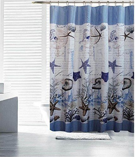 Aruba Blue White Purple Tan Starfish Shells Fabric Shower Curtain 70 By 72 New Mystique Nautical Fabric Shower Curtains Curtains Shower Curtain