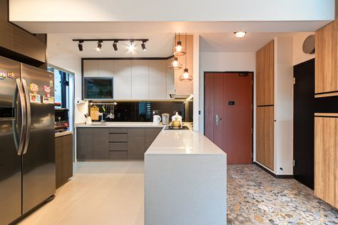 Joo Seng Green Simple Kitchen Kitchen Concepts Kitchen Remodel Layout