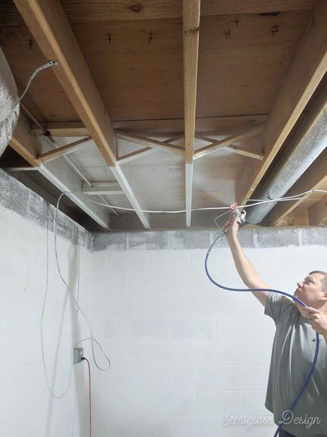 Spraying A Basement Ceiling Is The Quickest Way To Make It Look