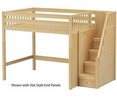 52 Clearance Enormous Full Size High Loft Bed With Stairs Natural By Maxtrix Kids Furniture Optional Desk Bunk Beds With Stairs Loft Bed Bunk Beds
