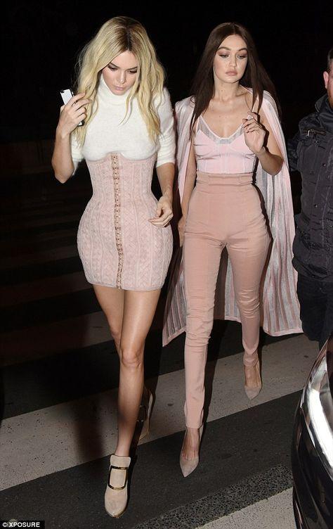 Kendall Jenner and Gigi Hadid keep wigs for Balmain bash in Paris