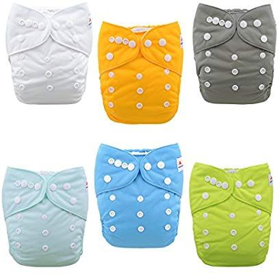 ALVABABY Cloth Diaper Pocket Washable Adjustable Reuseable Cloth Diapers Nappies for Boys and Girls 6 Pack with 12 Inserts