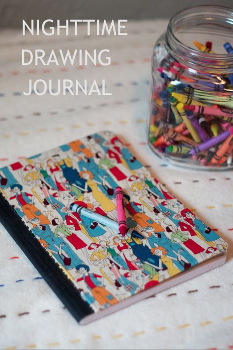 """Childrens Nighttime Drawing Journal - Each night have your child draw a picture of their favorite part of the day. Then write a caption about the picture. Would be a good """"while making dinner"""" or """"while doing the dishes"""" activity for the kids."""