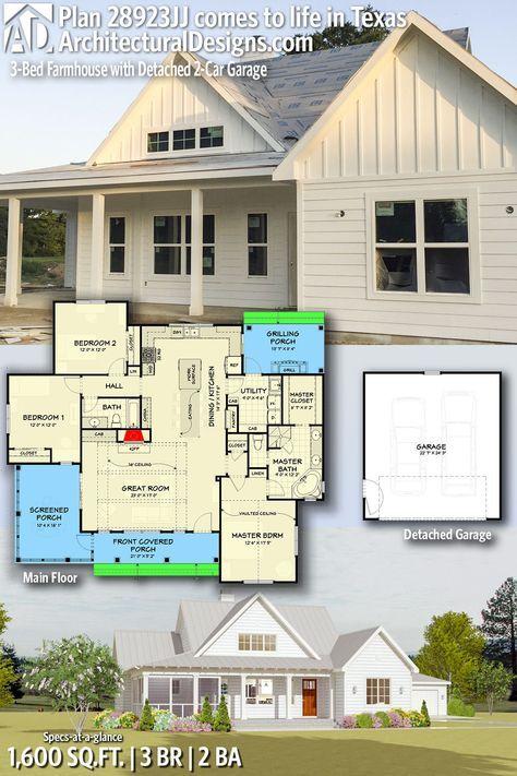 Plan 28923jj 3 Bed Farmhouse With Detached 2 Car Garage Small Farmhouse Plans House Plans Farmhouse Architectural Design House Plans