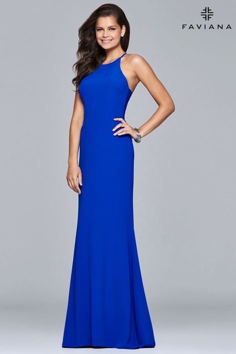 64f46c07ebc FAVIANA S 7913 Halterneck stretch crepe dress with sweep train  evening   party  prom  dress  unique  homecoming  faviana  trendy