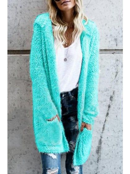 Women's Fluffy Cozy Open Front Hooded Cardigan Long Sleeve