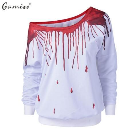 Skew Collar Paint Drip Sweatshirt - Red And White Xl Full Fashion