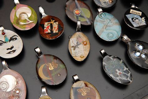 Resin teaspoon pendants.