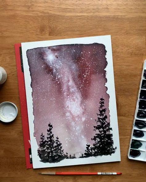 Watercolor Milky Way night sky