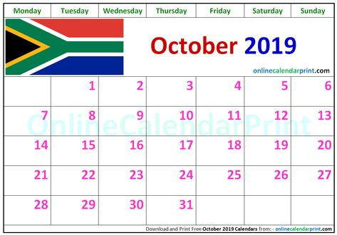 October 2019 Calendar South Africa 2019 Calendar Monthly