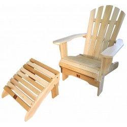 fauteuil adirondack fixe avec repose pieds en cèdre brut
